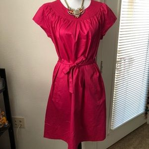 Merona fuchsia poplin belted dress